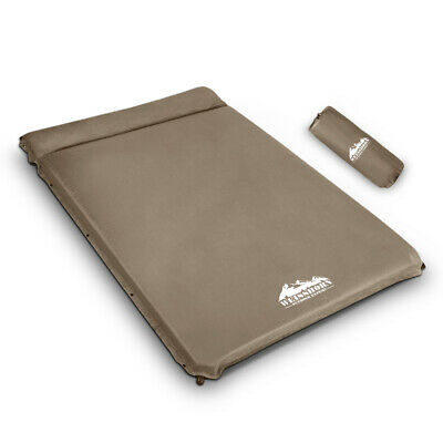 Self Inflating Mattress Outdoor Hiking Camping Sleeping Bed Double Size Coffee