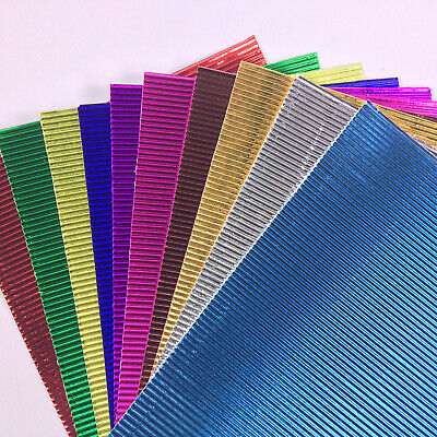 Pack of 10 A4 Metallic Corrugated Sheets Mixed Corrugated Ridged Card