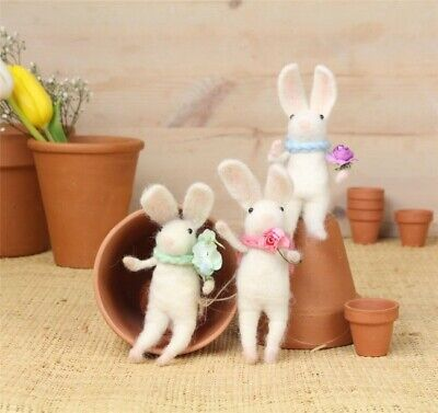 Gisela Graham Wool Mix White Easter Bunny Rabbits Set of 3 for Display Easter