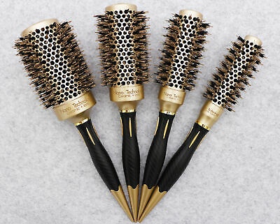 Ceramic Barrel Round Thermal Hair Styling Blowout Drying Curling Brush Black