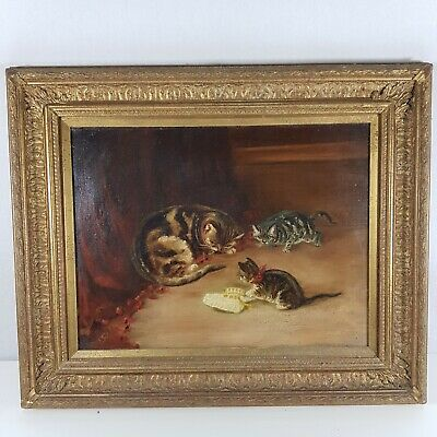 Early 20th Century Oil On Canvas Painting Cat And 2 Kittens with artistMonogram