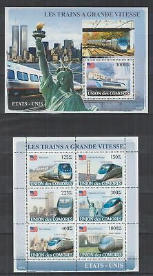 T611. Comores - MNH - 2008 - Transport - Trains - United States