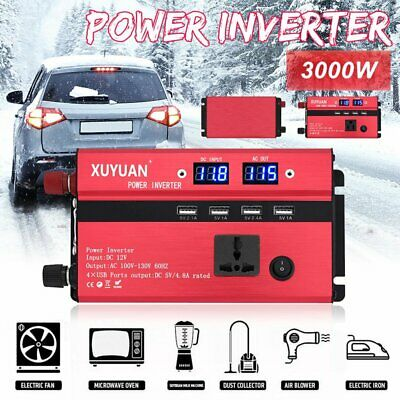 3000W Power Inverter Car pure Modified Sine Wave Converter DC12V to AC 220V US