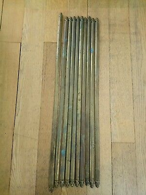 10 x Antique vintage brass stair rods fleur de list trefoil reclaimed carpet