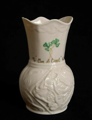 Vintage Belleek Pottery Ireland Small Personalized Wavy Rim Vase
