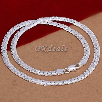 1 PCS 5MM 925 Solid Sterling Silver Necklace Chain Women Lady Necklace UK STOCK