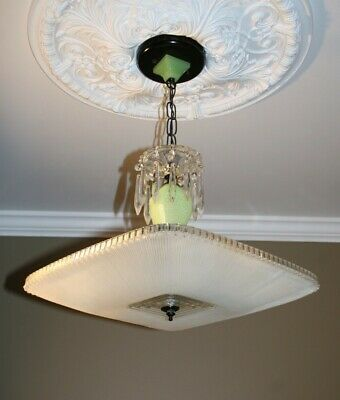Antique frosted square jadeite green glass Art Deco ceiling light fixture