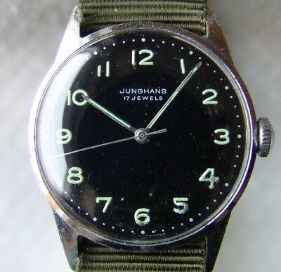 Men's Wwii Era Junghans Military Style German Wristwatch Good Condition