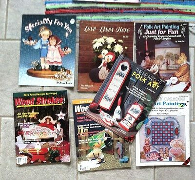 Lot of 7 Folk Art Painting Books Projects Tole Wood Crafts Lewis Lange 1990s
