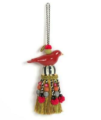 MacKenzie-Childs Ceramic Bird Tassel - Red & Gold  13""