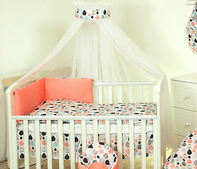 9 Pcs Bedding Set with Big Canopy, Duvet, Bumper, Fitted sheet to fit Cot 120x60