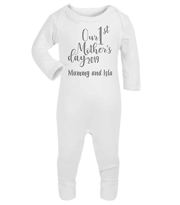Personalised Our First Mothers Day Baby Grow Baby Gifts First Mum Gifts