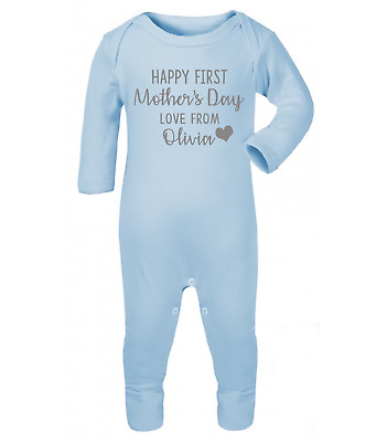 Personalised Happy First Mothers Day Baby Grow Baby Gifts First Mum Gifts