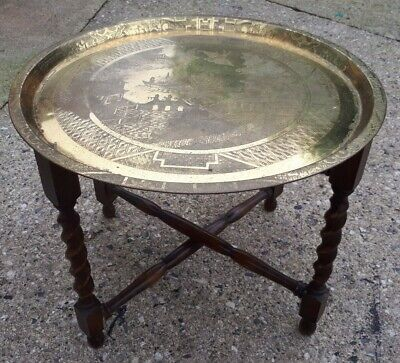 Edwardian Benares Brass Tray on Barley Twist Legs - Gorgeous