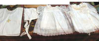 Beautiful Antique /Vintage Christening Baptism Gown /Outfit 4 Pieces