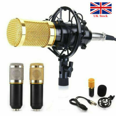 BM800 Audio Vocal Studio Mic Condenser Microphone Kit Arm Stand Mount Pop Filter