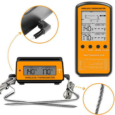 Wireless Digital Thermometer ABS Remote Dual Probe Cooking BBQ Meat Oven Food