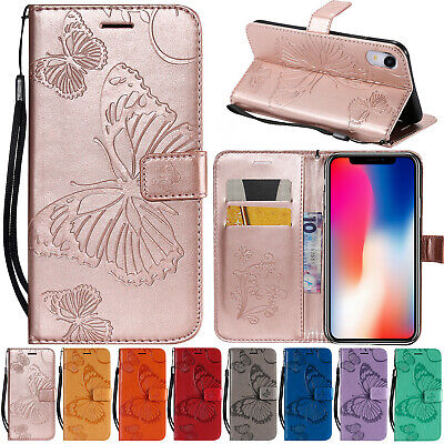 For iPhone XS Max XR 8 Case Patterned Leather Wallet Magnetic Flip Stand Cover