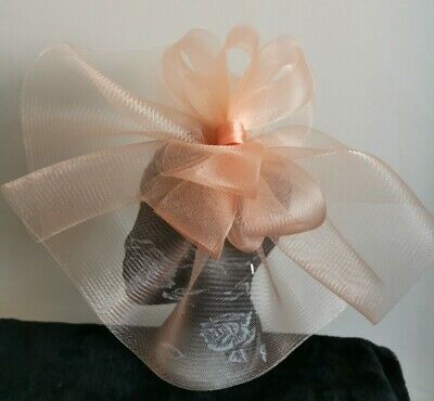 Peach nude coral salmon fascinator millinery burlesque wedding hat hair piece