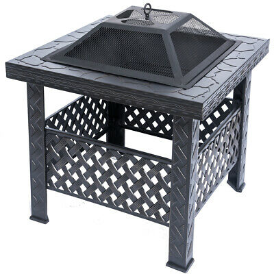 RayGar Square Fire Pit Patio Heater Stove Brazier Metal Outdoor Garden Firepit