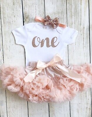Peach Rose Gold Baby Girls First 1st Birthday One Tutu Vest Cake Smash Outfit