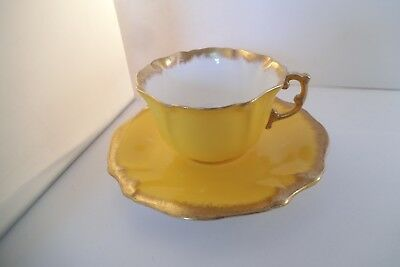 Vintage Hammersley & Co Bone China England Cup & Saucer Yellow & Gold Rim