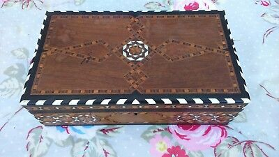 Antique Wooden Box Inlaid with Marquetry, Bone and Ebony Banding