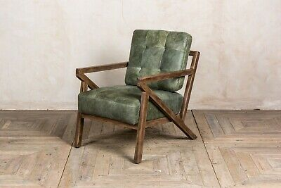 Matcha Green Leather Mid Century Modern Style Z-Frame Armchair