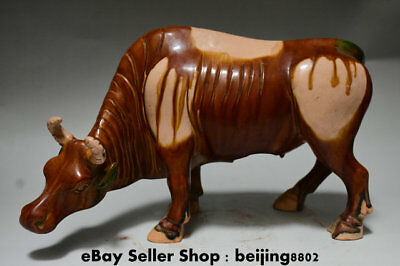 "14"" Collect Chinese Tang Sancai Ceramic Porcelain Animal Bull Oxen Sculpture"