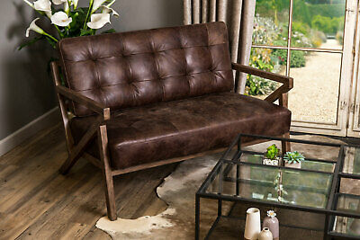 Hickory Brown Leather Mid Century Modern Style Two Seater Sofa