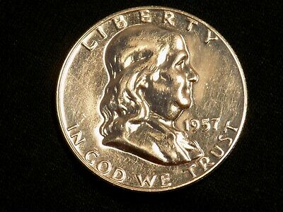 1957 GEM PROOF Franklin Half Dollar Silver Coin BLAZING MIRRORS !! CLEANED203
