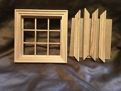 12th scale dolls house 9 pane wooden window x1
