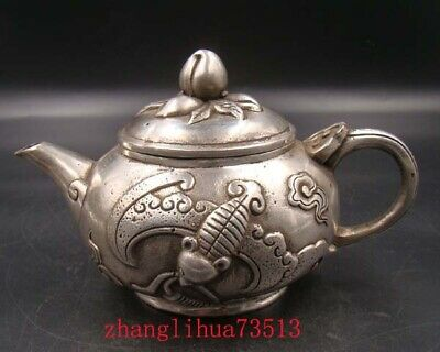 Collectible Handmade Carving Statue Copper silver Teapot Art Deco