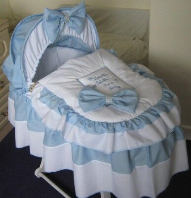 Twinkle Star Blue And White Moses Basket Cover Set By Babyfanzone