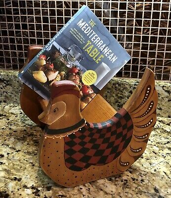 Vintage Primitive French Country Wood ROOSTER CHICKEN Folk Art Cook Book Shelf