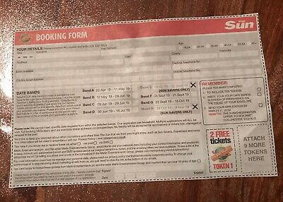 The Sun Chessington Tickets X2 Booking Form And All 10 Tokens Needed