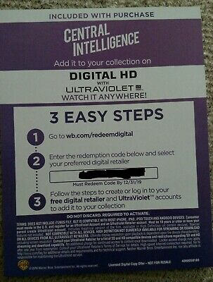 Central Intelligence DIGITAL MOVIE CODE-NOT A MOVIE DISC!!