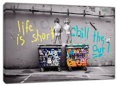 Banksy LIfe is short kids  Black and white Reprint on Framed Canvas Wall Art