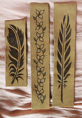 Lot Of 3 Unique Pyrography (Burned) Leather Bookmarks: Feathers And Flowers