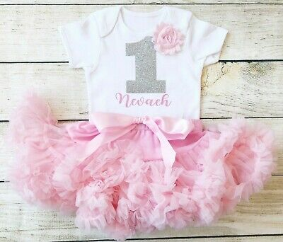 Pink Silver Personalised First 1st Birthday Tutu Set Baby Girl Cake Smash Outfit