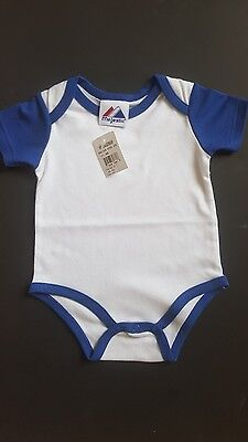 MAJESTIC short sleeve blue and white newborn 3-6 months top with snaps