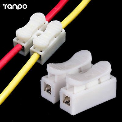 5PCS CH-2 Spring Wire Connectors Electrical Cable Clamp Terminal Block Connector