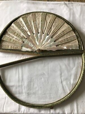 Antique French Wedding Fan with Mother of Pearl - ca 1870 in Shadowbox