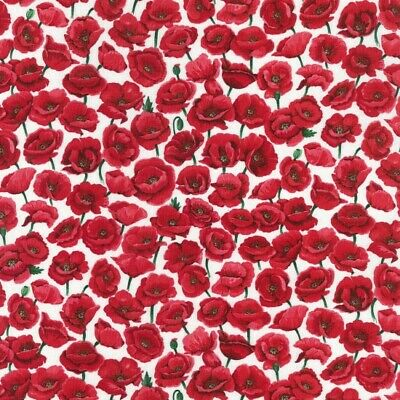 Nutex Fabric - Poppies - Field - White - 100% Cotton - Multiple Sizes