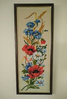 Vintage Red Poppies Blue Cornflowers Daisies Tapestry Picture Framed Hanging