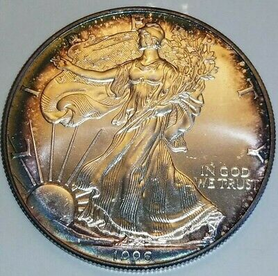 BU 1996 TONED SILVER American Eagle * KEY DATE COIN * One Troy Ounce * $1 COIN
