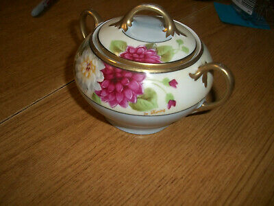 Vintage hand-painted Bavania Sugar bowl with lid  ,good condition no chips crack