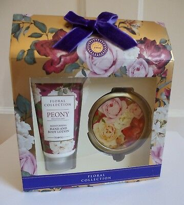 M&S Floral Collection Peony Hand & Body Lotion with Compact Mirror Gift Set