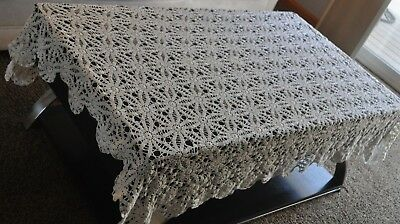 Vintage Crocheted tablecloth 58X47 Rectangle CREAM/OFF WHITE HAND CROCHETED