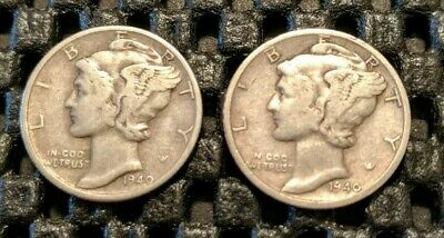 1940-D & 1940-S Mercury Dime Lot! 90% Silver! Free Shipping!